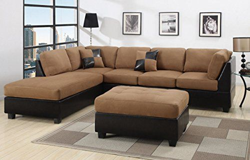 5 Piece Microfiber Faux Leather Reversible Sectional Sofa With