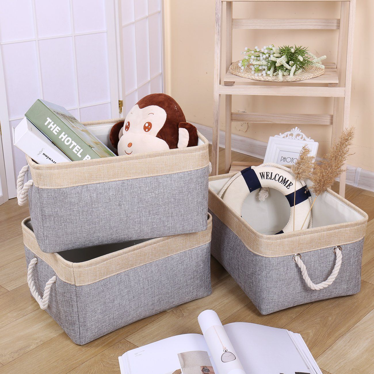 Organizing Homeoffice Ideas: TheWarmHome Collapsible Storage Bin Baskets With Cotton