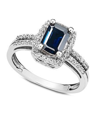 14k White Gold Ring, Sapphire (1 ct. t.w.) and Diamond (1/5 ct. t.w.) - Specials - Jewelry & Watches - Macy's