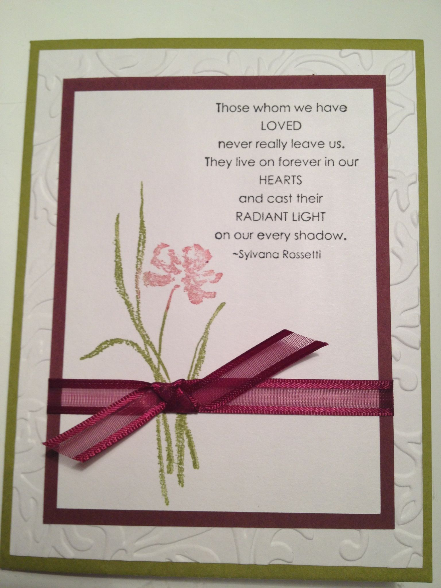 sympathy card love this color combo