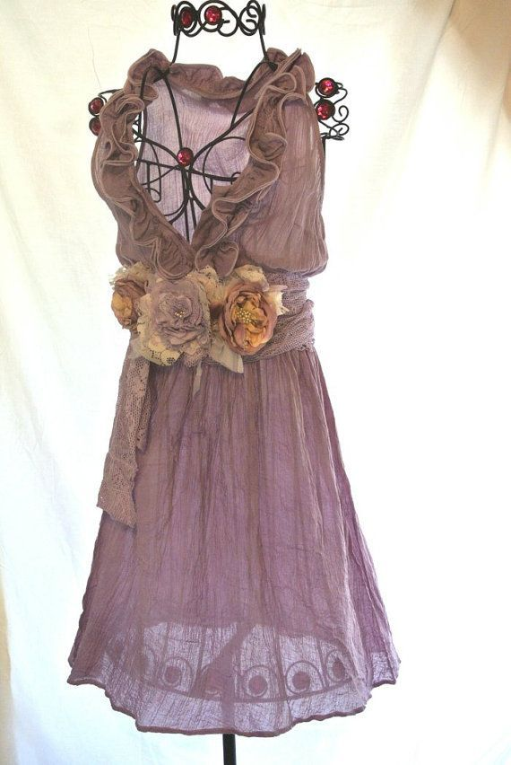 Awesome French Country Clothing Part - 12: Gauze Sundresses | Spring Plum Gypsy Gauze Sundress French Country Ruffle  Dress Hand Dye .