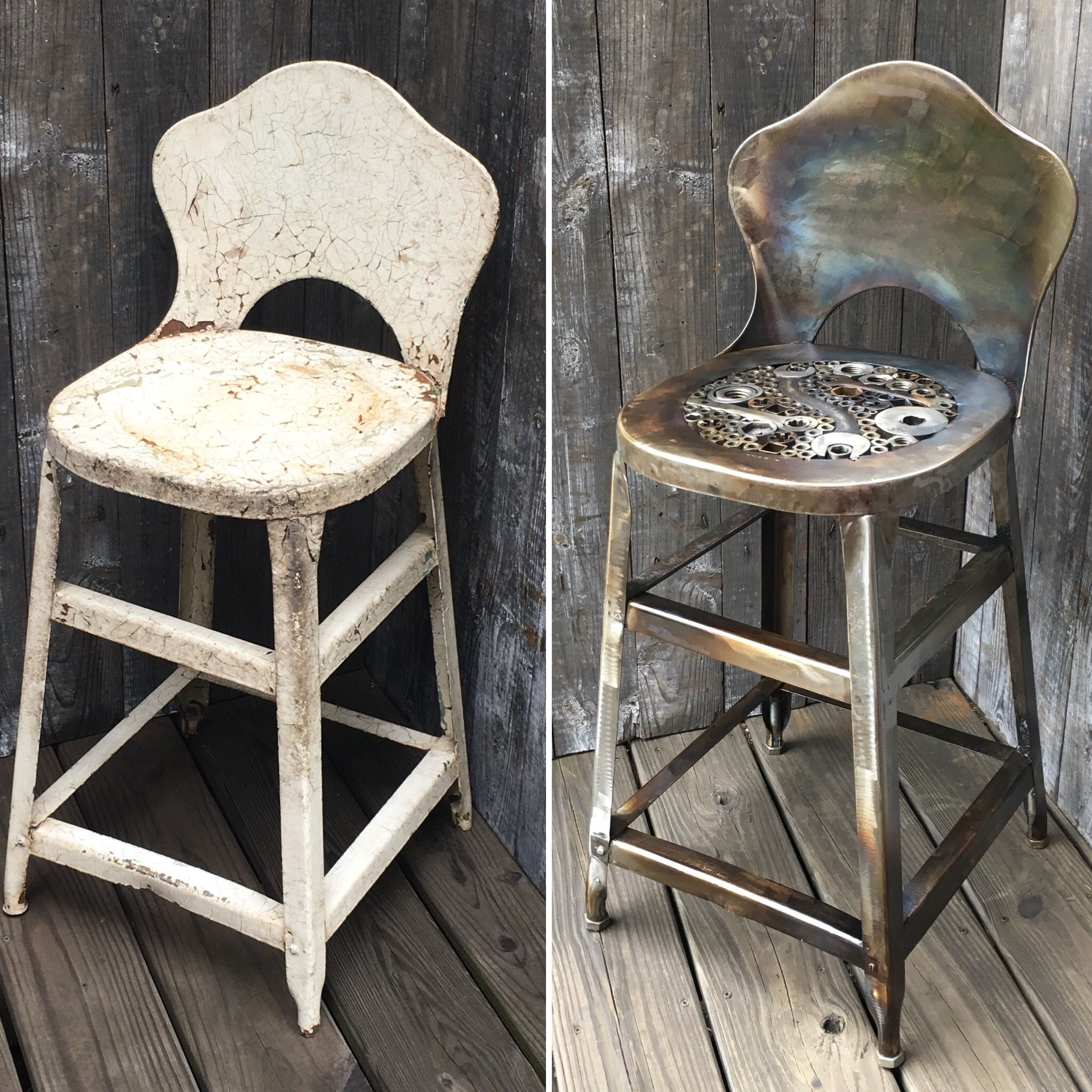 Fantastic Vintage Stool Before After 22 Seat Height 13 Square Ncnpc Chair Design For Home Ncnpcorg