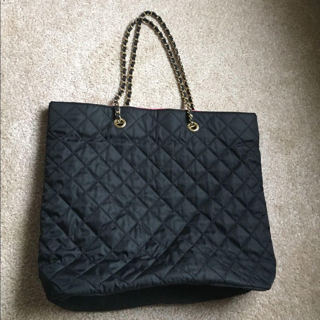 Gold Chain Black Tote Bag