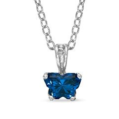 "BFly® Child's Imperial Blue Cubic Zirconia Butterfly Pendant in Sterling Silver - 14"" - - View All - PAGODA.COM"