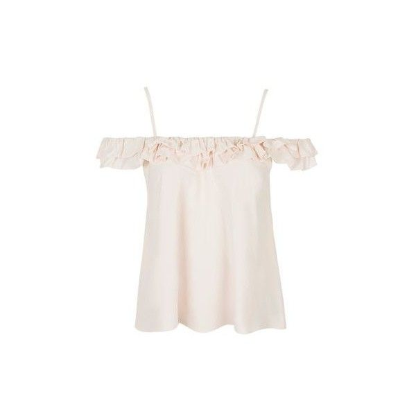 18b62ef1d0601a TopShop Cold Shoulder Frill Strap Top ( 34) ❤ liked on Polyvore featuring  tops