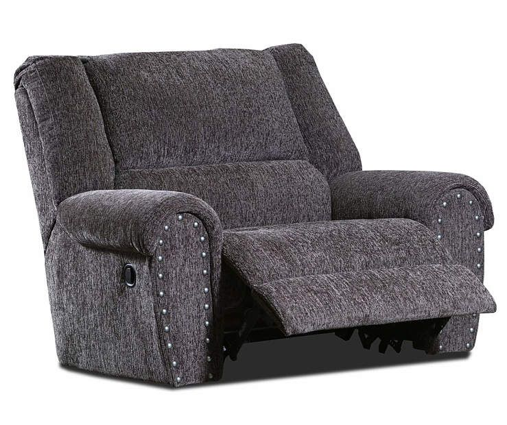 Trent Gray Chenille Recliner With Nailhead Trim Big Lots In 2020 Recliner Chair And A Half Nailhead Trim