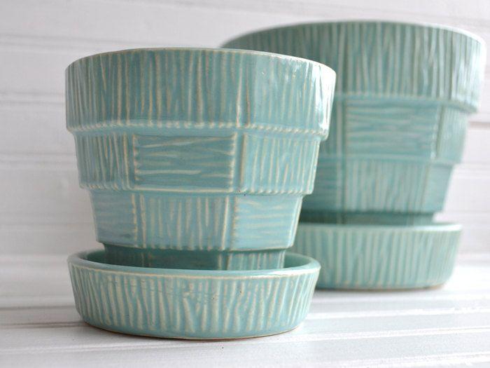 Ceramic Planter 40/'s GORGEOUS COLOR Teal Planter Blue Ceramic Planter Aqua Planter Turquoise Planter Retro Planter Vintage Planter