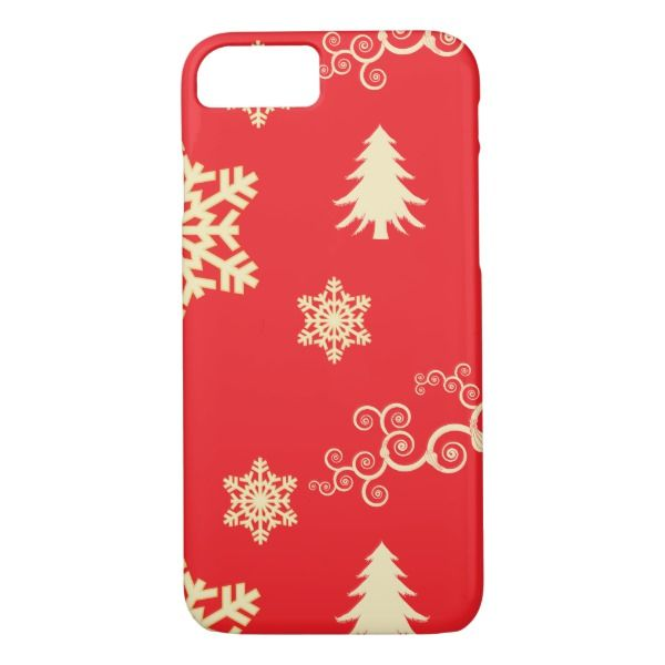 red christmas with cream snowflakes iphone 7 case christmas phonecase xmas iphone