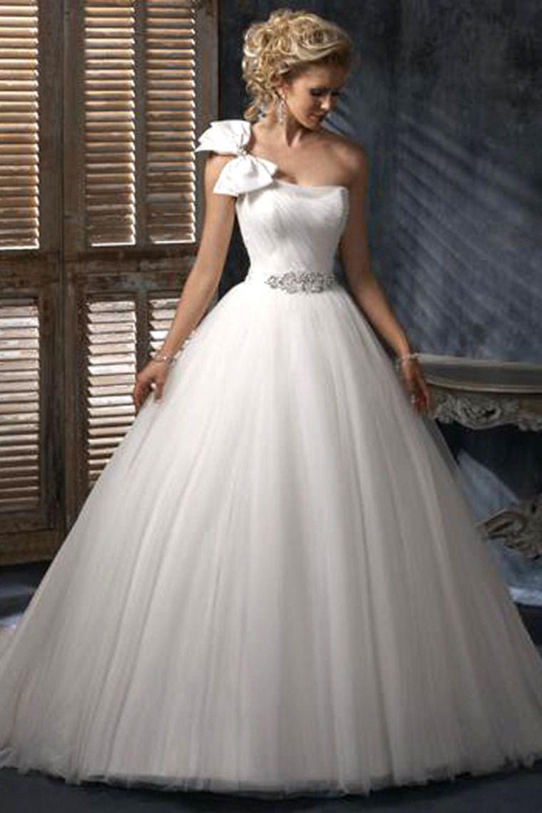 Cute One Shoulder A Line Corset Tie Back Wedding Dress Tulle USD 229.99 LDP5M86GHJ - LovingDresses.com