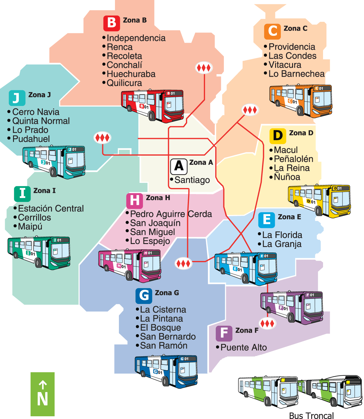 santiago bus route map regions in colors bus route maps