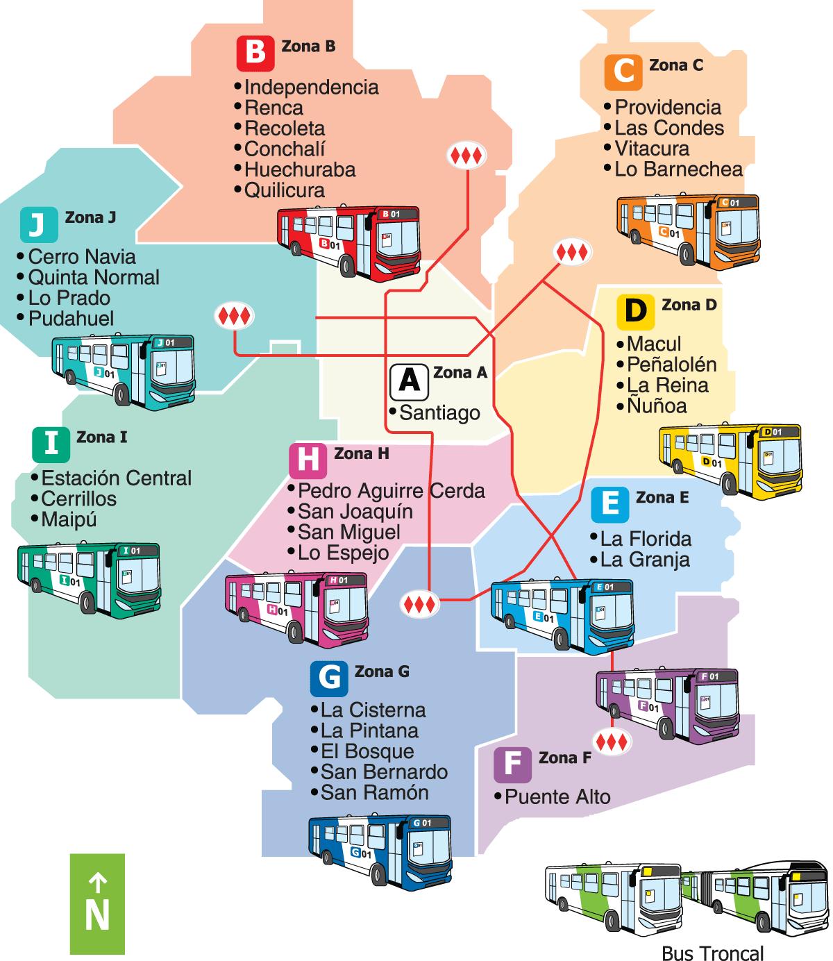 Santiago Bus Route Map regions in colors Bus Route Maps