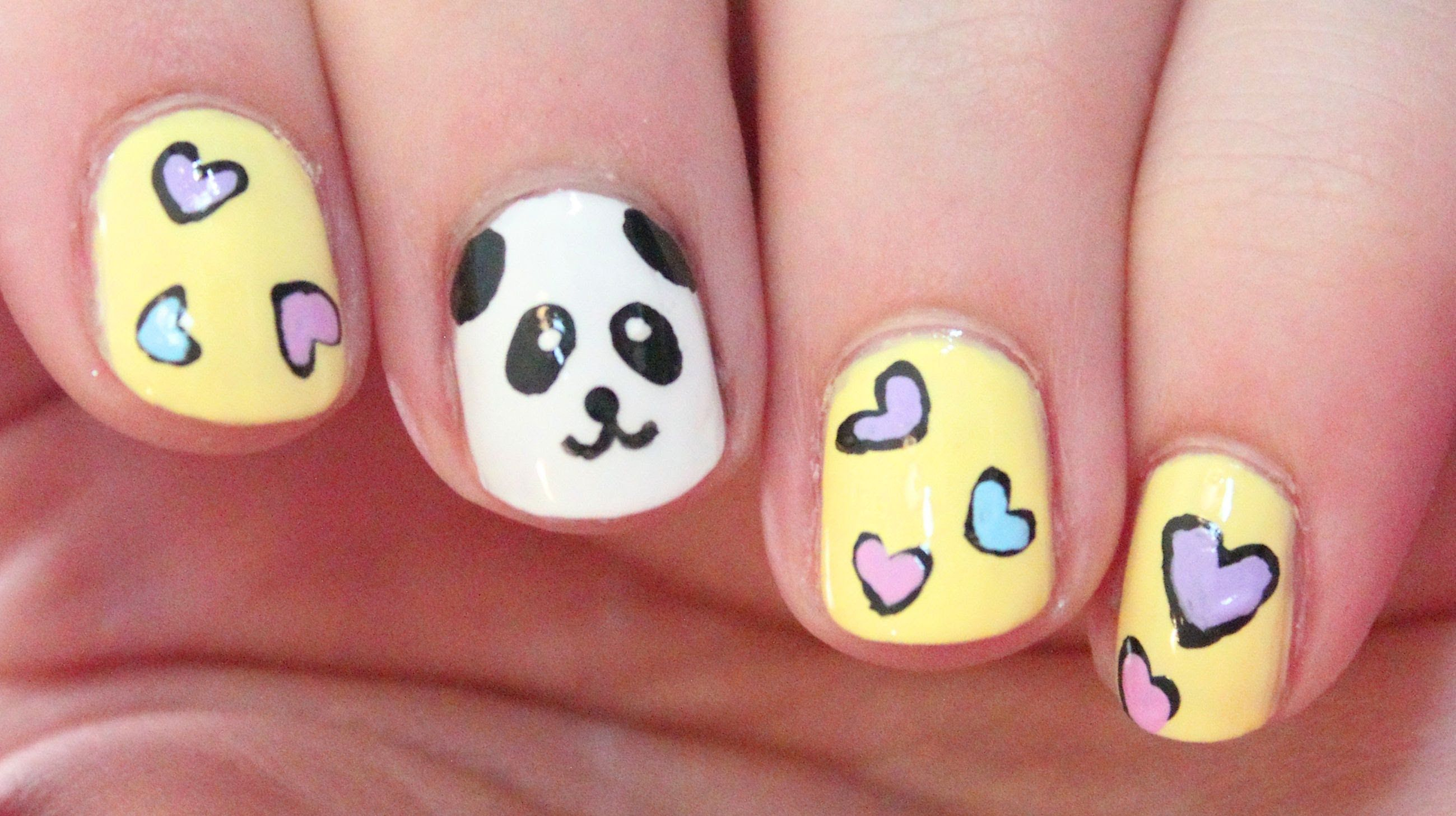 How to paint cute Panda Nail Art DIY tutorial step by step ...