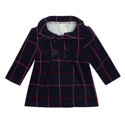 e9924899cec5 J by Jasper Conran Baby girls  navy checked fleece coat