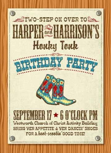 Honky Tonk Party Invitation Wording