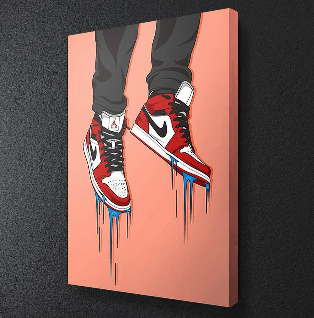 Canvas Club Nike Air Yeezy Sneaker Red Dripping Jordan Kanye West Basketball Father S Day Framed Canvas Motivational Wall Art Framed Canvas Wall Art Canvas Art