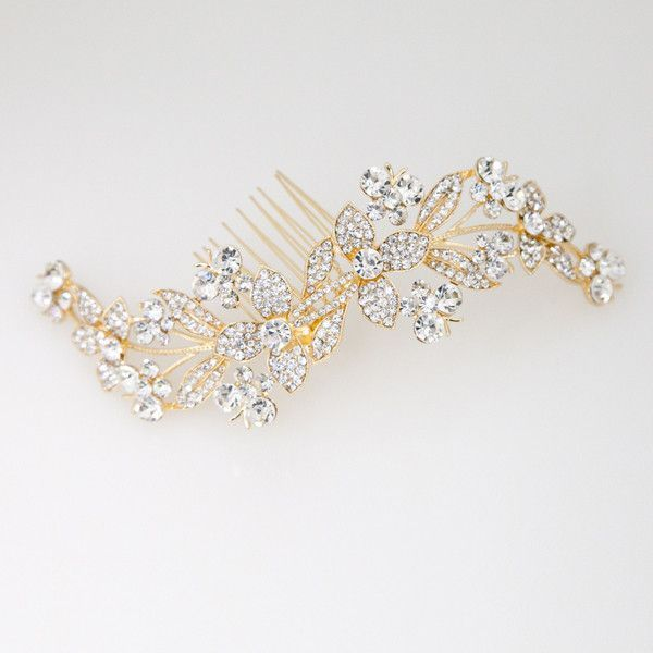 Crystal Butterfly Flower Comb