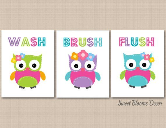 Owl Bathroom Wall Art,owl Kids Bathroom Wall Art,owl Bathroom Decor,owl Nursery Wall Art,owls Bath,girl Bathroom Decor -Unframed 3 B138 Owl Bathroom Wall Art,Owl Kids Bathroom Wall Art,Owl Bathroom Decor,Owl Nursery Wall Art,Owls Bath,Girl Bathroom Decor -UNFRAMED 3 B138 Bathroom Decoration owl bathroom decor