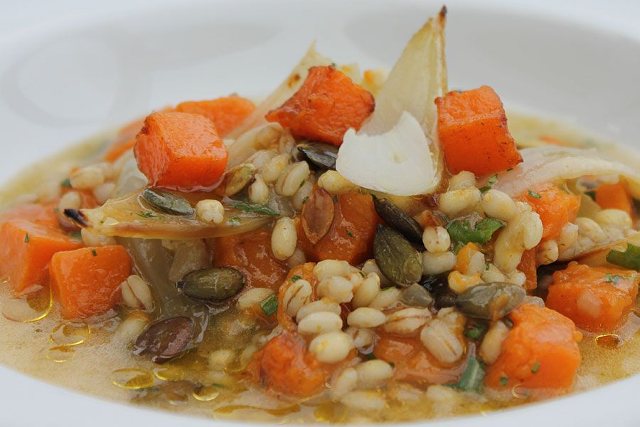 Barley broth, roasted butternut squash and pumpkin seed - The non - new book blueprint cafe