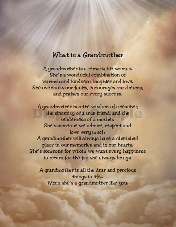 What Is A Grandmother Sentimental Print Perfect For Framing Granny