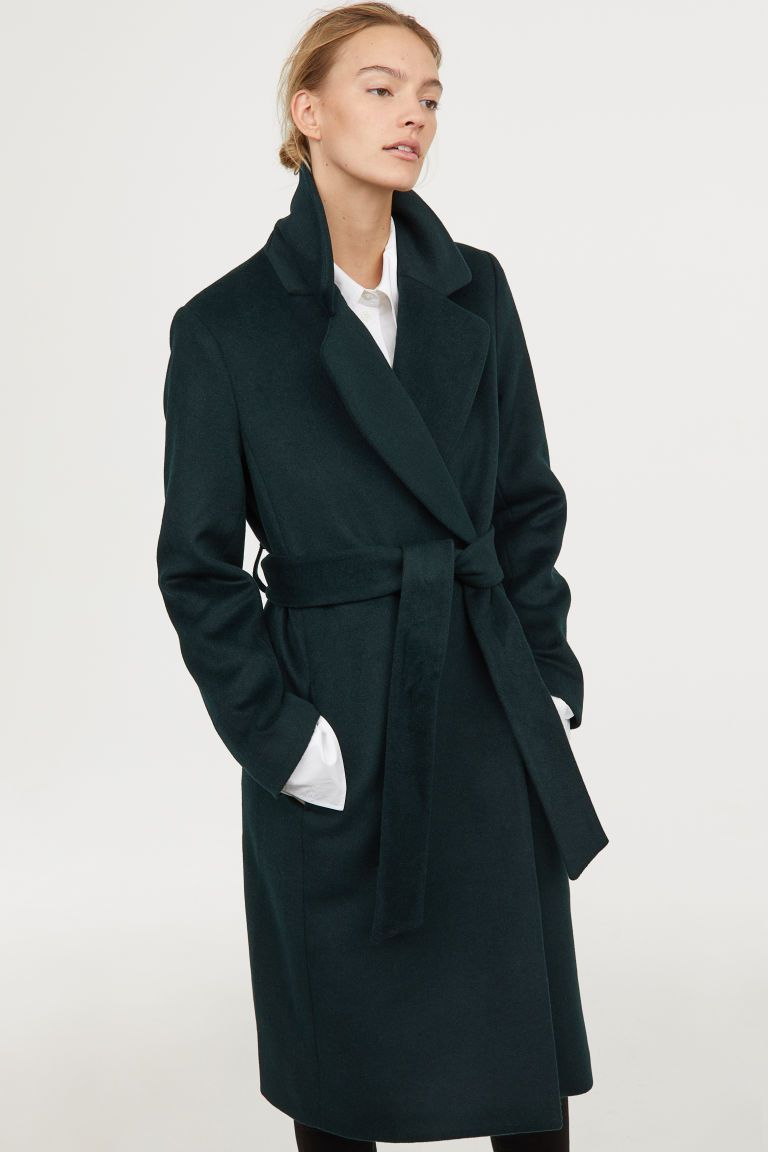Frakke I Uldblanding Morkegron Dame H M Dk Green Wool Coat Green Coat Outfit Wool Blend Coat [ 1152 x 768 Pixel ]