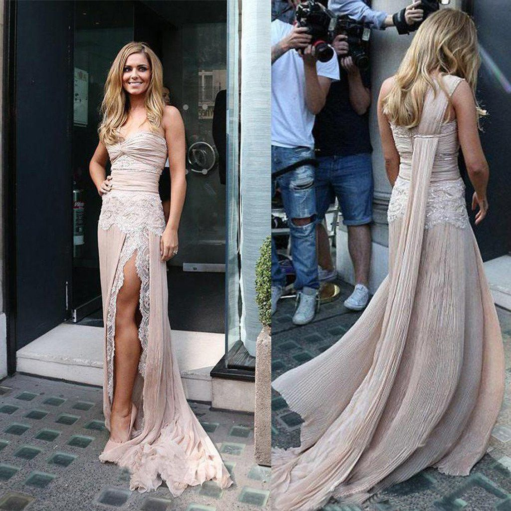 Celebrity inspiration style one shoulder lace long sheath side slit