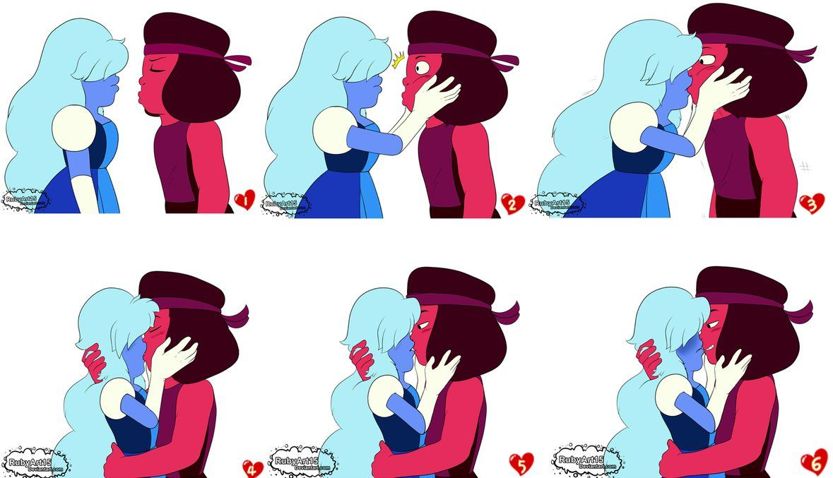 Ruby And Sapphire Phase Kiss By Rubyart15 Ruby X Sapphire