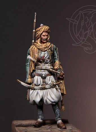 """Albanian Chieftain - Early 19th C. Armies of the Ottoman Empire 1775-1820 """" . The figure represents an Albanian Chieftain in early XIX century costume . The Ottoman forces in the provinces were magnificently dressed, and Albanian costumes , according to the western artists and writers, were the most splendid and elaborate . Weapons , too , were ostentatiously decorated."""