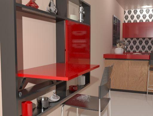 Mesa abatible de pared m6 empotrada en un mueble de sal n - Mesa plegable pared cocina ...