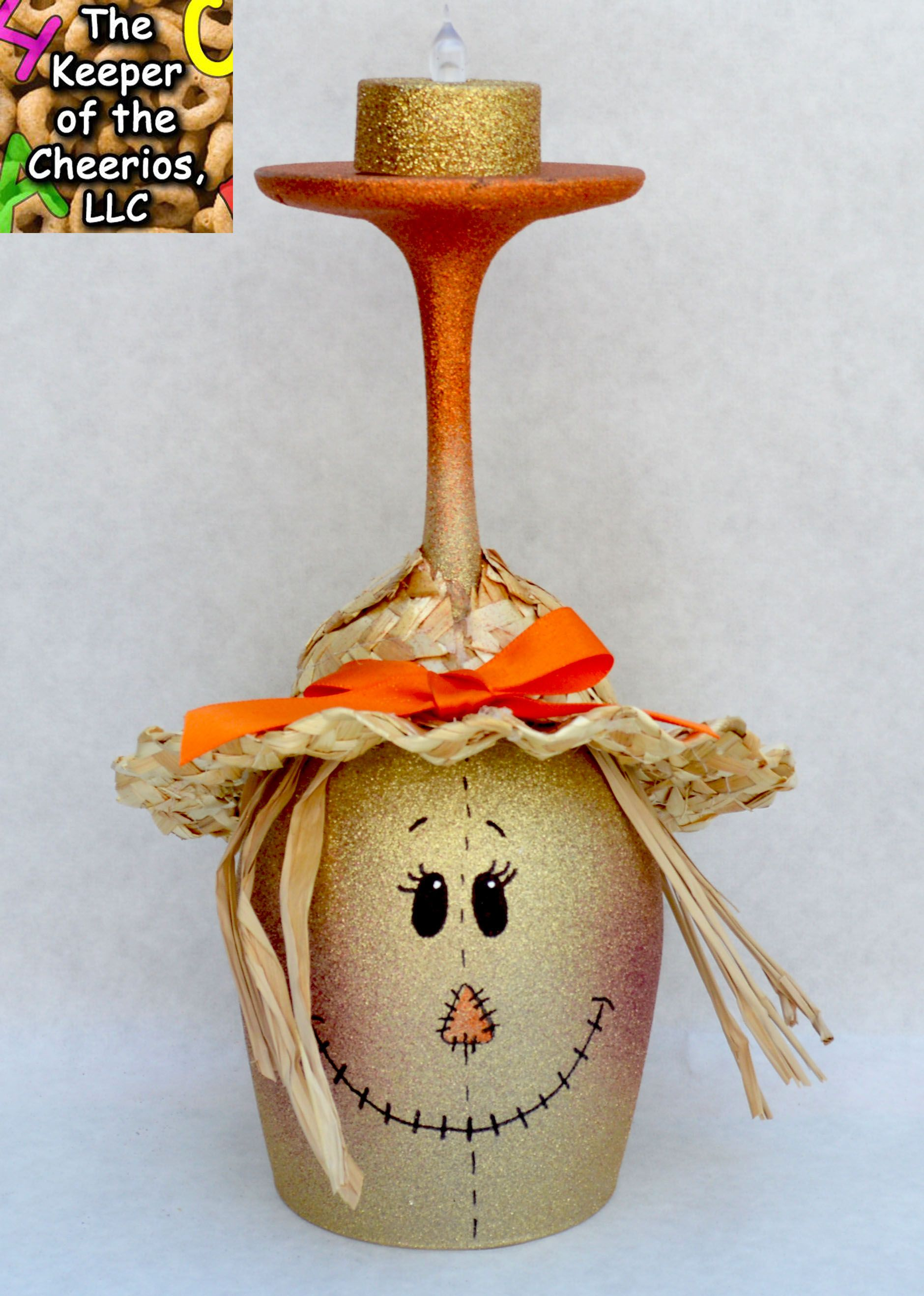 Scarecrow wine glass candle holder the keeper of the for Wine bottle candle holder craft