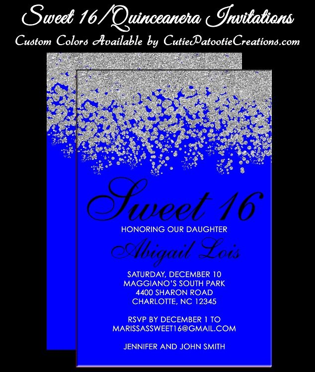 royal blue and silver quinceanera invitations sweet 16 invitations bat mitzvah invitations - Royal Blue Quinceanera Invitations