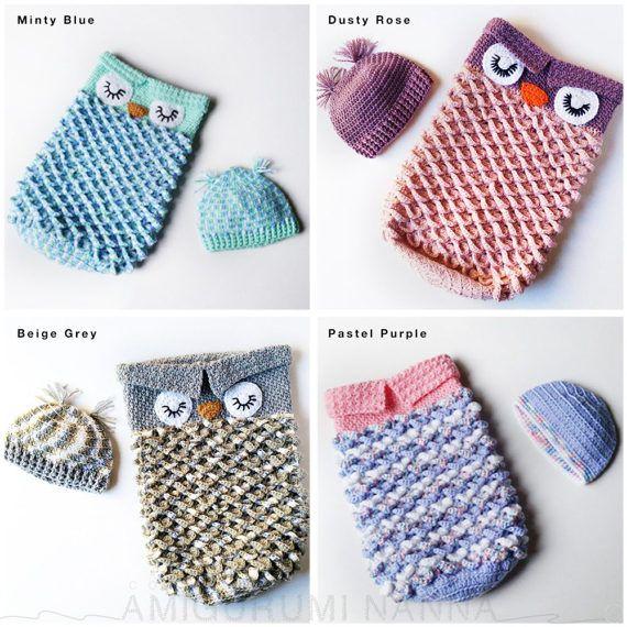 Owl Cocoon - Flower Cocoon - Crochet Cocoon - Crochet Owl Cocoon ...