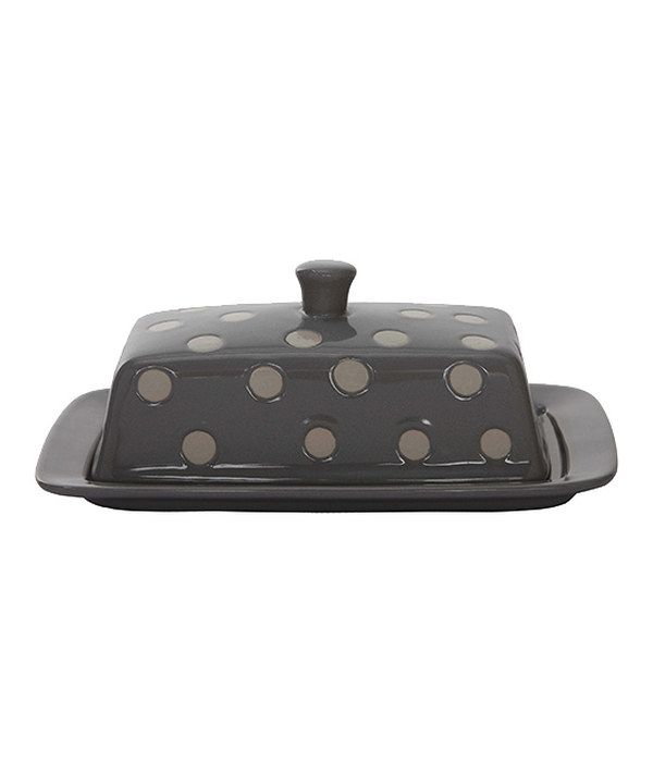 Look at this Gray & White Polka Dot Stoneware Butter Dish on #zulily today!