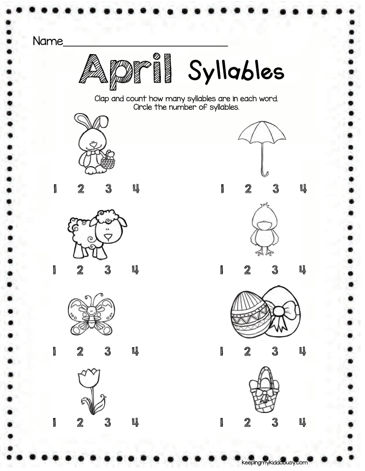 Syllables Kindergarten Pre K Practice Clapping And Counting Syllables Kindergart Free Kindergarten Printables Kindergarten Worksheets Syllable Worksheet