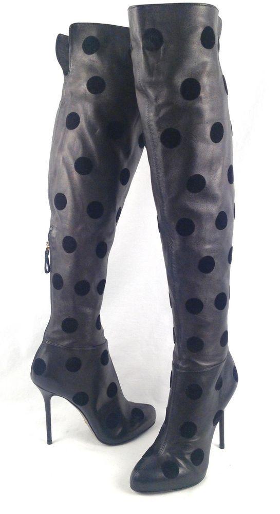 SERGIO ROSSI Over-the_Knee Black Stretch Leather-- Size US 6 /EU 36- $ $3,885 #SergioRossi #FashionOvertheKnee