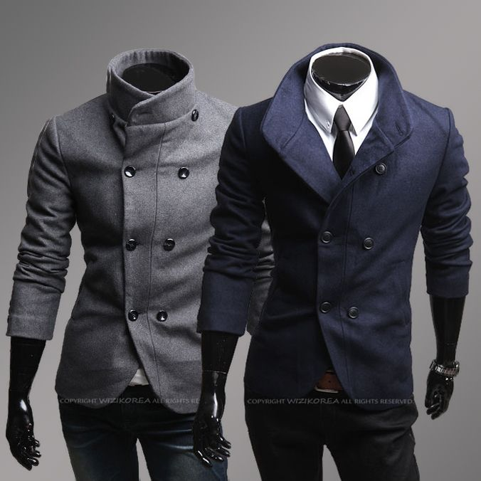 Free Shipping Brand New Men's Wool Jacket Trench Coat Simple style ...