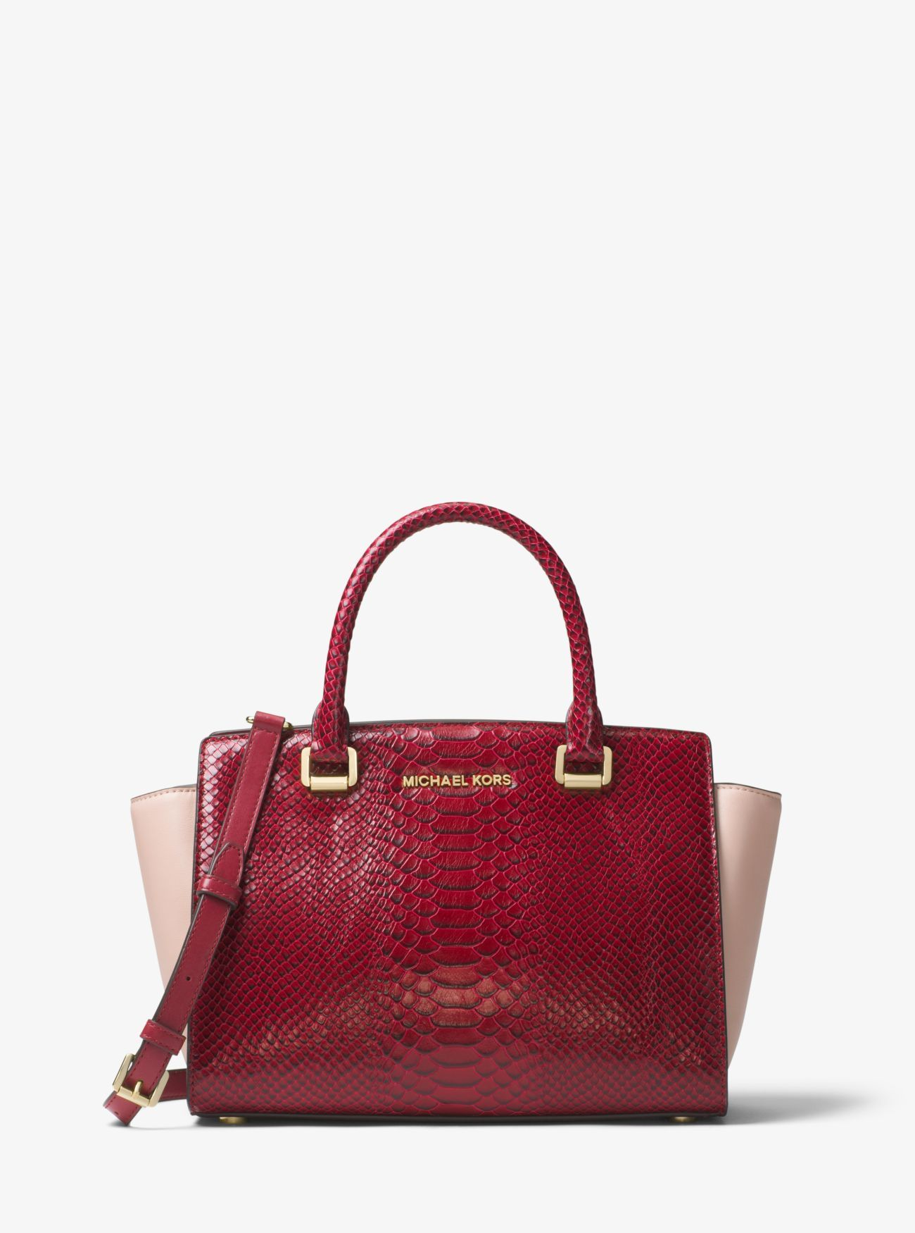 ba5d062e8296 Outlet Michael Kors Mulberry/Soft Pink Selma Color-Block Embossed-Leather  Satchel Discount Online