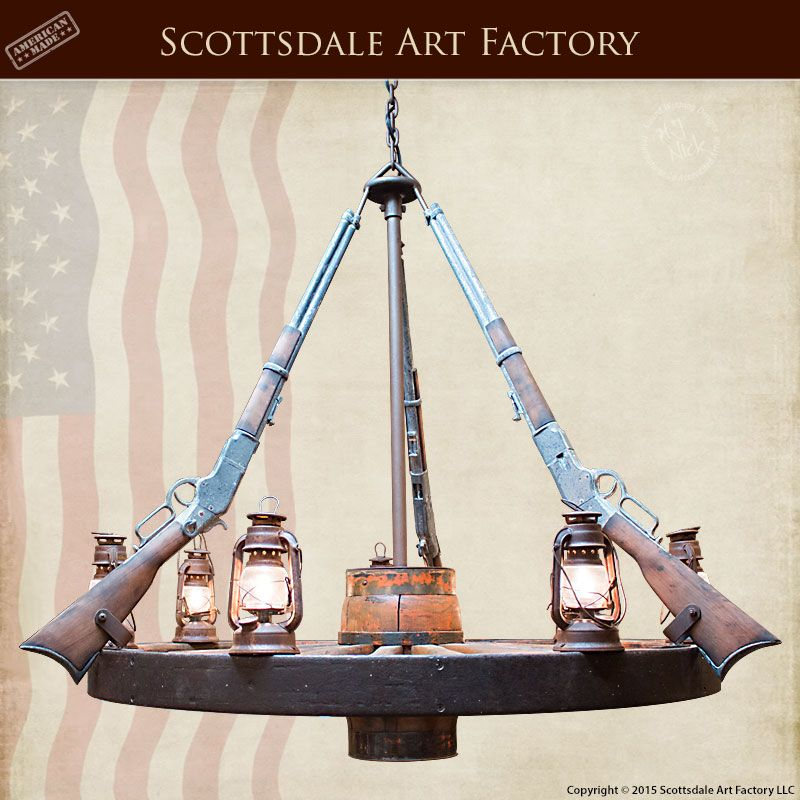 Wagon Wheel Chandelier With Rifle Western Theme   LC720