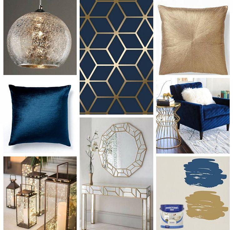 Best Cubic Shimmer Metallic Wallpaper Navy Blue Gold Blue 400 x 300