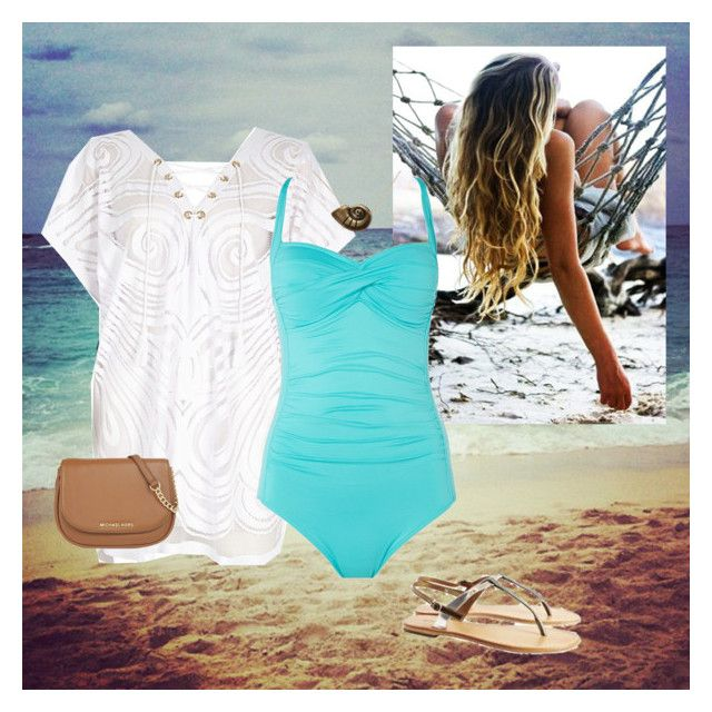 """""""Day at the Beach"""" by kaitlynaurora ❤ liked on Polyvore featuring River Island, Seafolly, Sambag, Disney, MICHAEL Michael Kors, women's clothing, women's fashion, women, female and woman"""