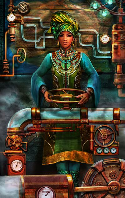 Queen of Pentacles, painted by Brooke Gillette for the Tarot of Brass & Steam