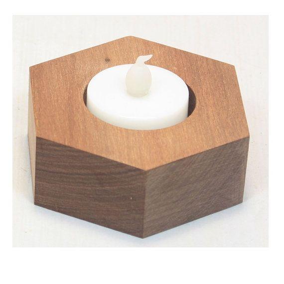 Handmade Wooden Hexagonal Tea Light Holder From Recycled