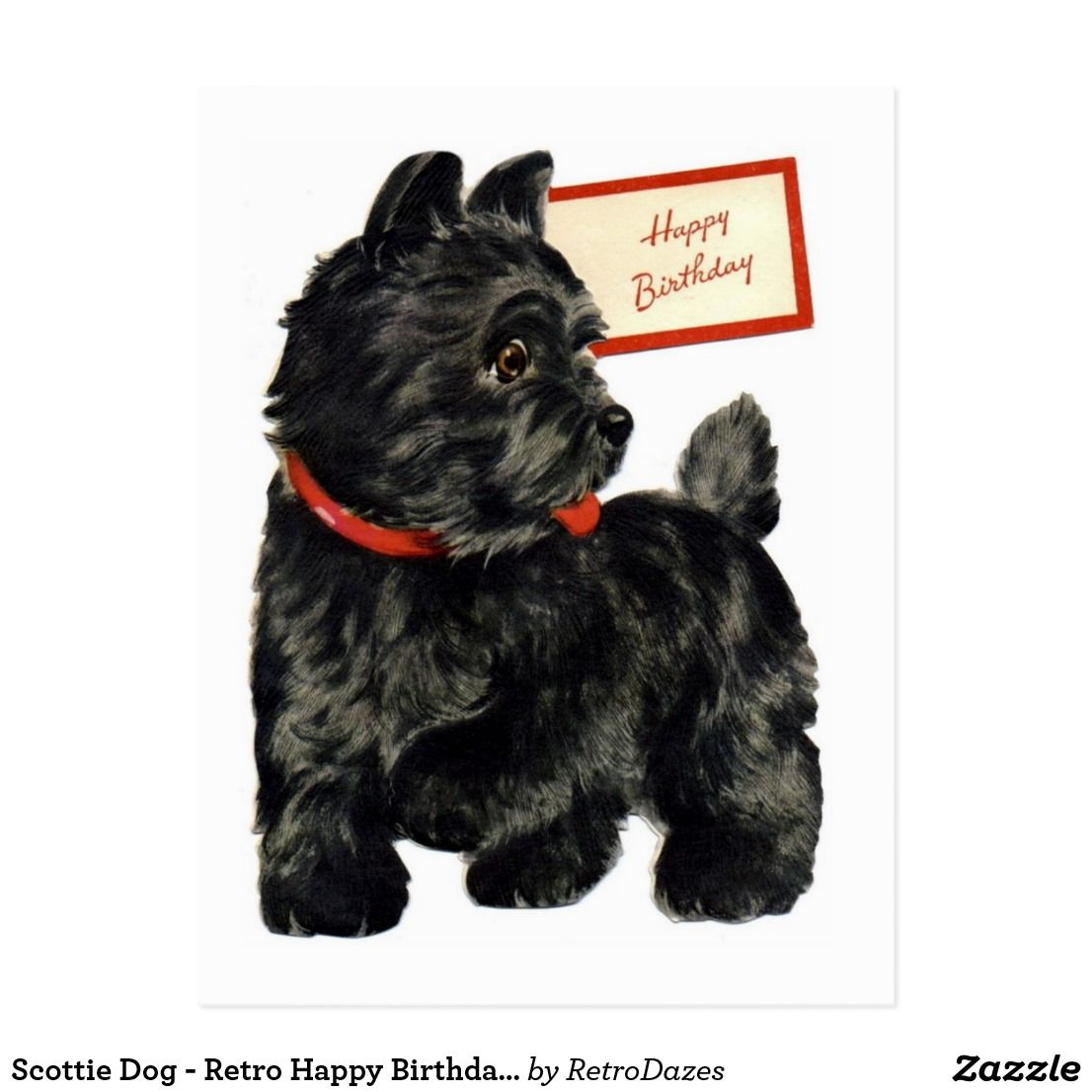 Scottie Dog Retro Happy Birthday Card Zazzle Com Retro Happy Birthday Scottie Dog Happy Birthday Cousin