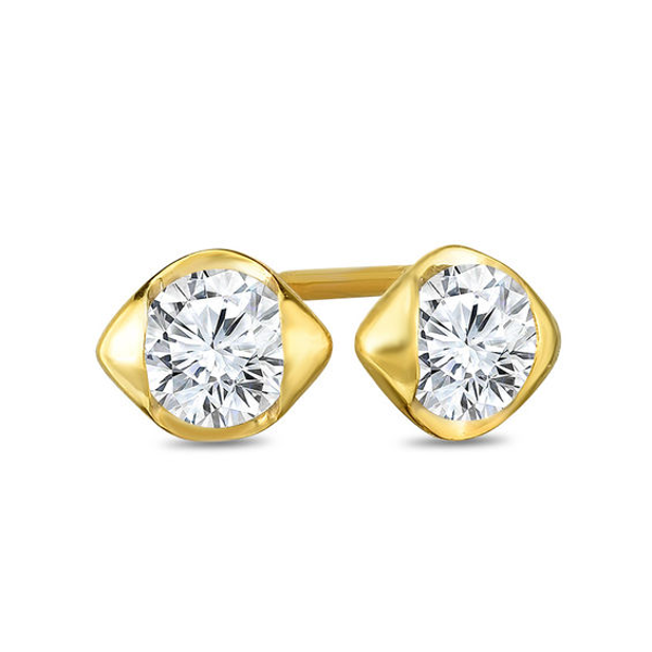 1 4 Ct T W Diamond Solitaire Sculpted Stud Earrings In 14k Gold Products In 2019 Stud Earrings Solitaire Earrings Earrings