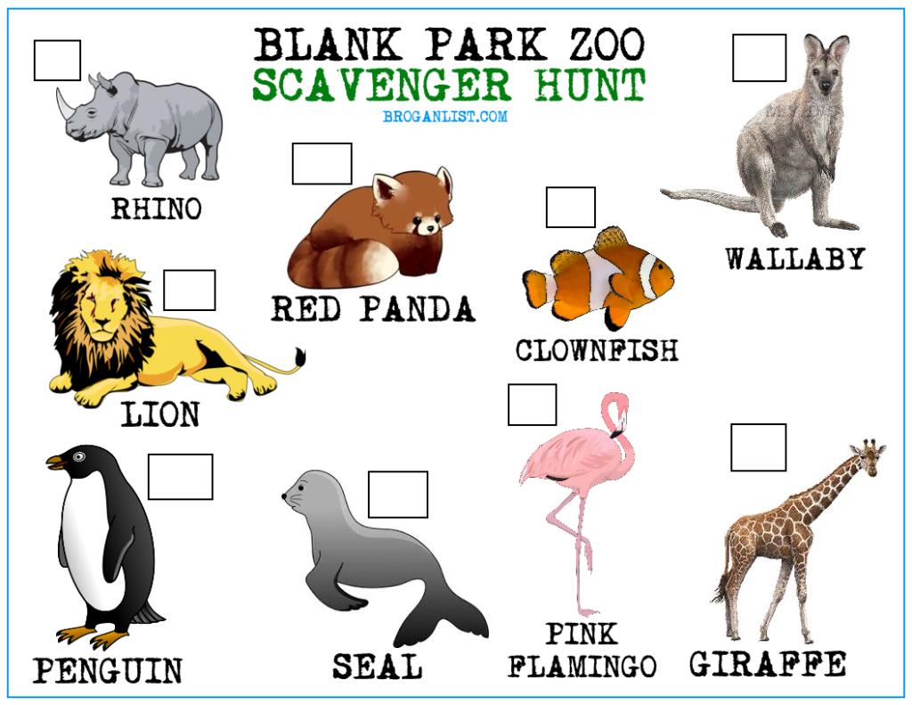 Blank Park Zoo Scavenger Hunt For Kids