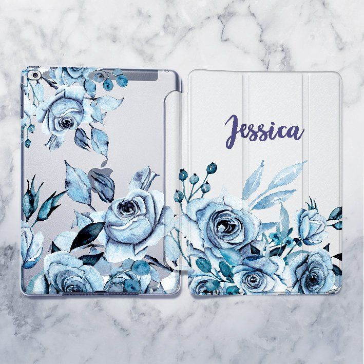 iPad Custom case for iPad 2018 case iPad Pro 9.7 Blue Flowers case iPad Pro 10.5 case iPad Mini case iPad Air case Personalized Smart cover