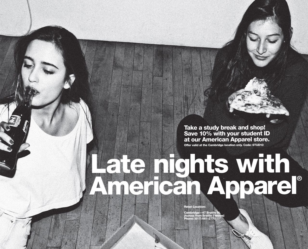 Late nights with #AmericanApparel.  #ads #advertisements #aamodels #Lera #Alex