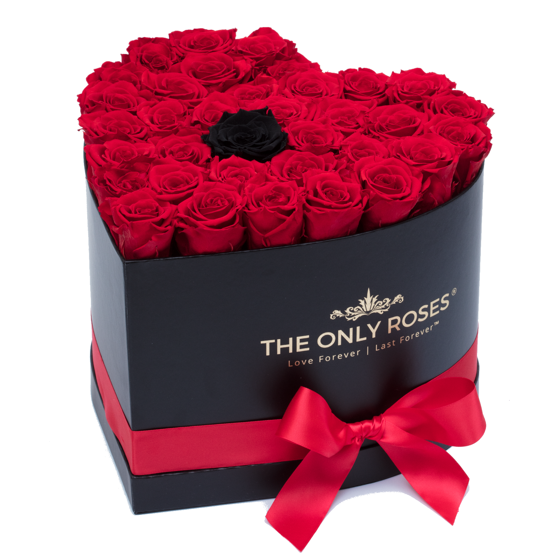 Red With One Black Preserved Roses Black Heart Rose Hat Box Preserved Roses Luxury Flowers Rose