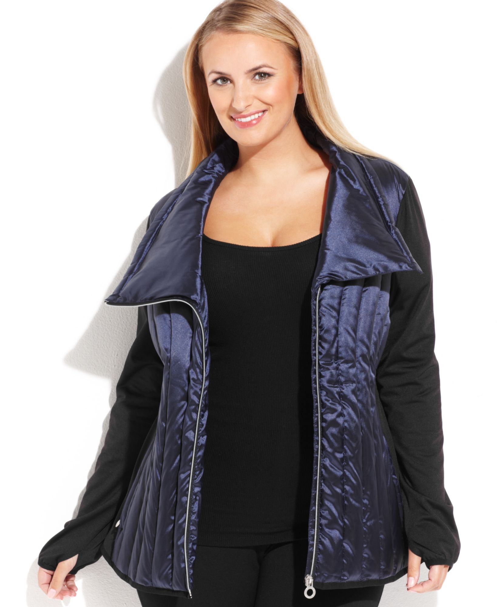 115fad75ec6 Calvin Klein Performance Plus Size Mixed-Media Asymmetrical Puffer Jacket