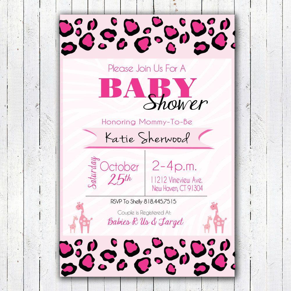 Printable Pink Safari Baby Shower Invitation by ElvasCrafts on Etsy ...