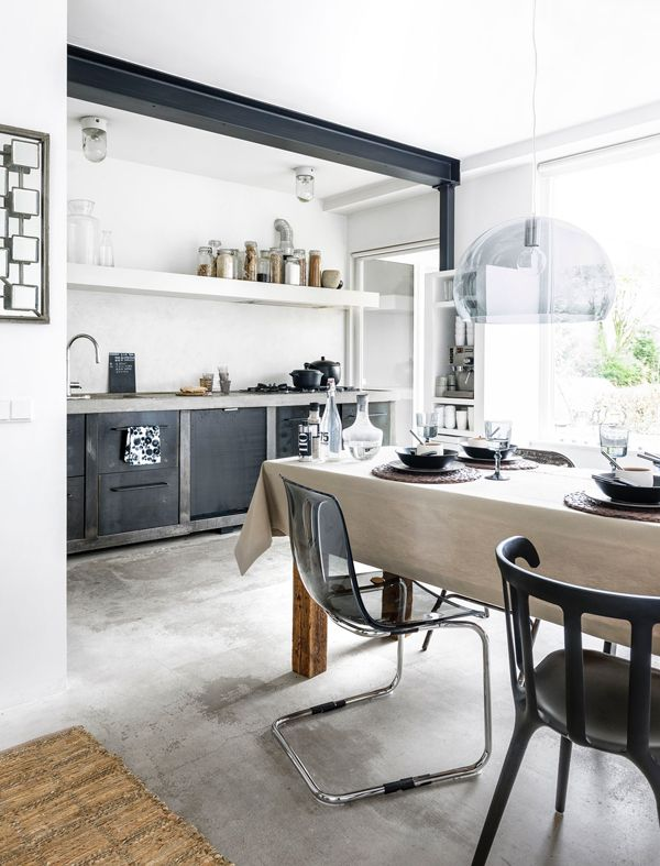 a home in a grey, black and beige color scheme - style-files, Hause deko